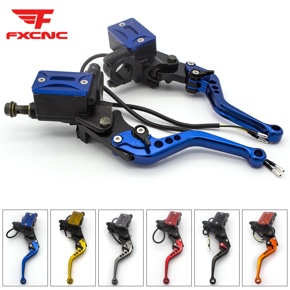 Blue 7 8 Aluminum Adjustable Motorcycle Master Cylinder Reservoir Hydraulic Brake Clutch Levers For Yamaha 50CC