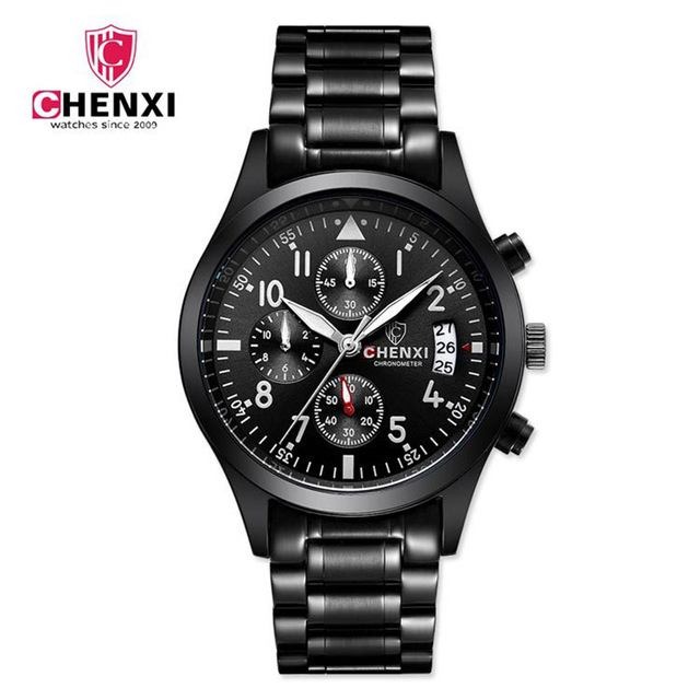 Chenxi Men Business Watches Black Stainless Steel 5 Atm Water Resistant Chronos Dress Army Military Watch Men Casual Clock