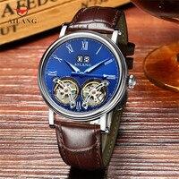 Индивидуальные Прохладный двойной Tourbillon часы для мужчин модные автоматические часы календари с автоподзаводом наручные часы кожаный реме
