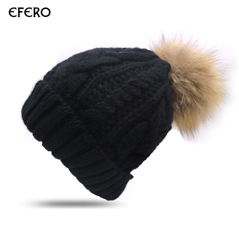 efero 2pcs Pom Pom Hats Hat for Women Thick Warm Knitted Caps Gilr   Beanie   Hat Lady Female Knitting   Skullies     Beanies   Bonnet Femme