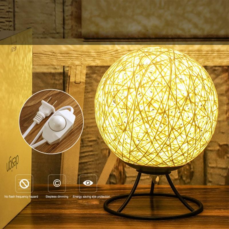 Dropship 3D LED Rattan Moon Night Light Moonlight Table Desk Moon Lamp Bedside Indoor Lamp Rattan Ball Home Decorative Lamp