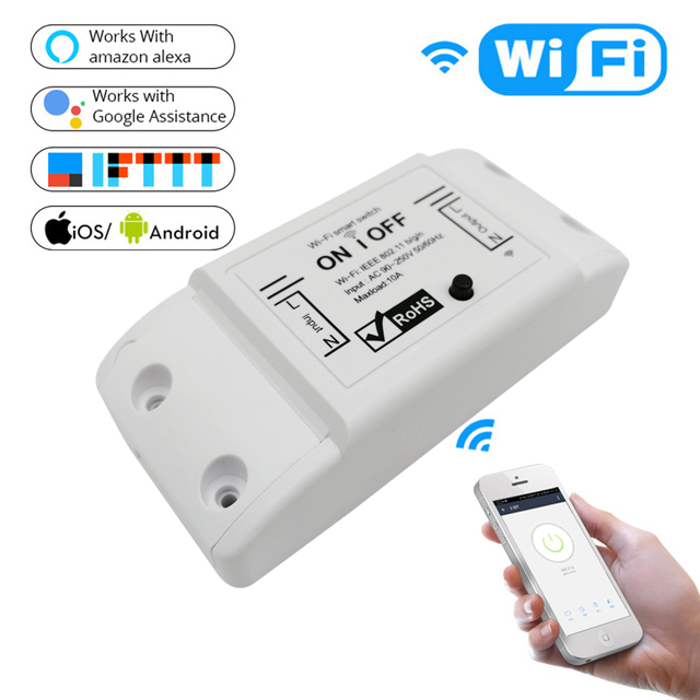 US $4 54 5% OFF|DIY WiFi Smart Light Switch Universal Breaker Timer Smart  Life APP Wireless Remote Control Works with Alexa Google Home-in Smart