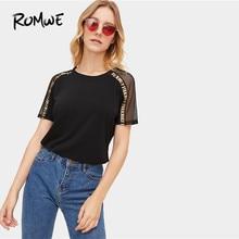 5748377f75abf ROMWE de malla en contraste de red y la Carta cinta Panel Tee 2019 de moda  Coreana de manga corta Tops de verano fabuloso Camisa.