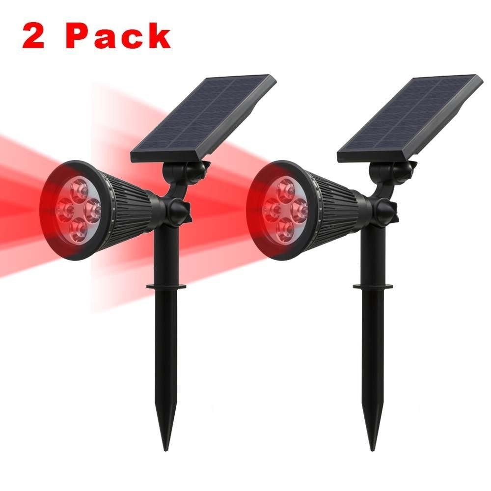 T Sunrise Red Color Light Solar Spotlight 2 Pack Led Solar