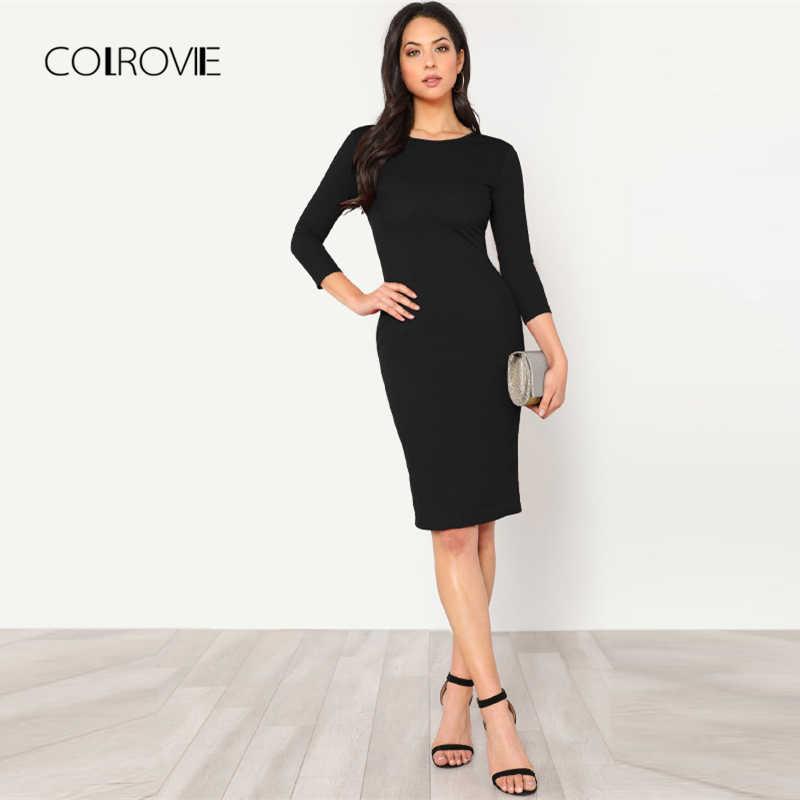 COLROVIE черный сплошной Замочная скважина сзади узел карандаш сексуальное платье для женщин осень 2018 г вечерние. Bodycon платье три четверти элегантны
