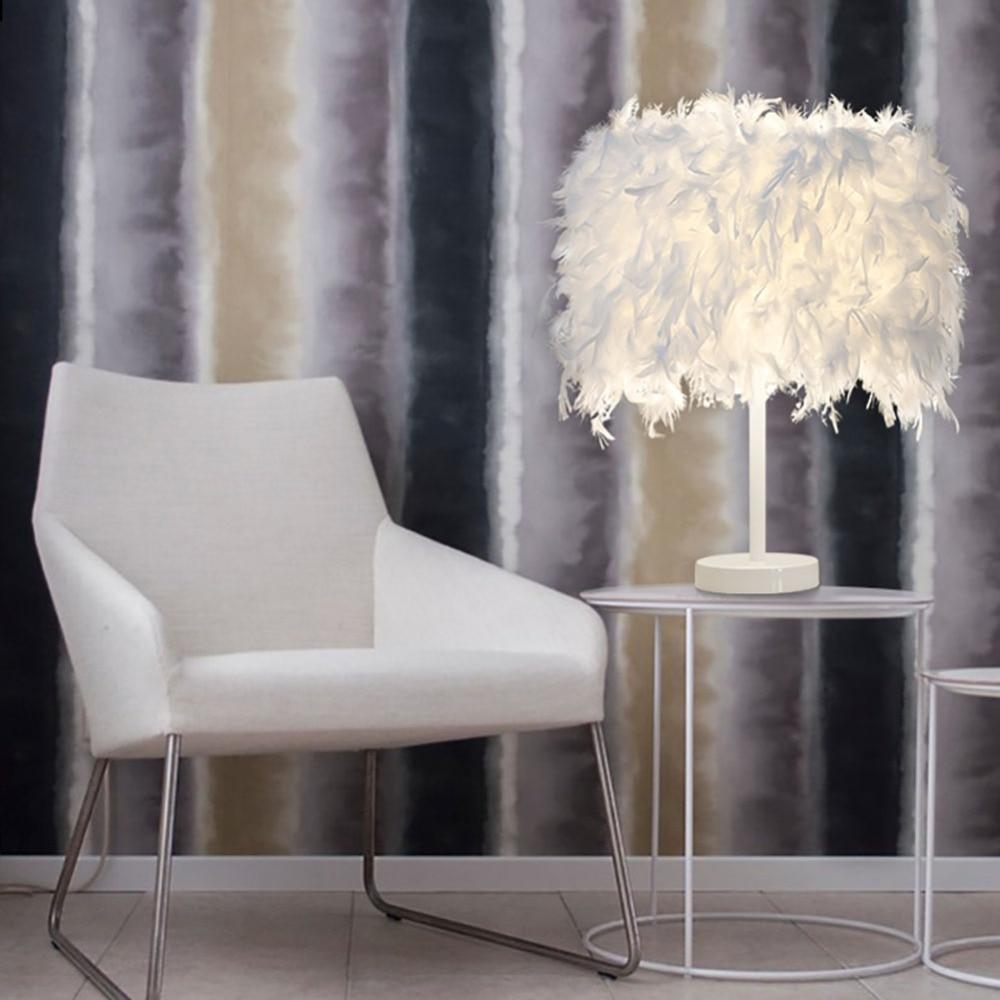 Neu Kommen Feather Tischlampen E27 E26 Nacht Leseraum Foyer Wohnzimmer Tischleuchte SchreibtischlampeChina