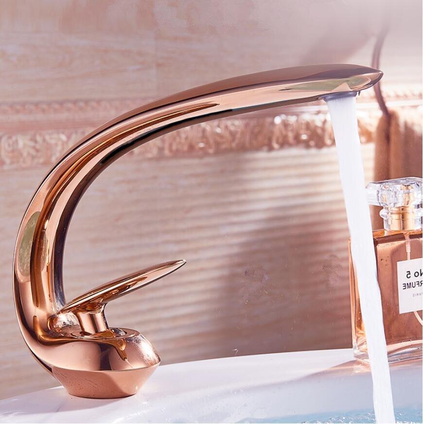 Rosa de ouro torneira da bacia moderna pia do banheiro torneira misturadora bronze lavatório único punho único furo guindaste para banheiro
