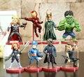 8pcs/set The Avengers Super Hero Hulk Iron Man Captain America Thor Black Widow Hawkeye Loki 8cm Action Figure Toys