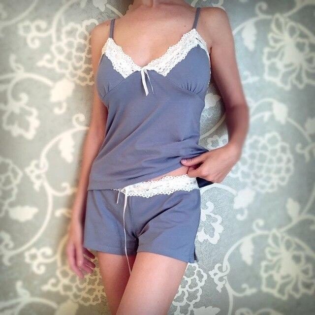 Yomrzl новых прибытие sexy кружева женщины пижамы набор, v-образным вырезом набор сон, искушение пижамы L233