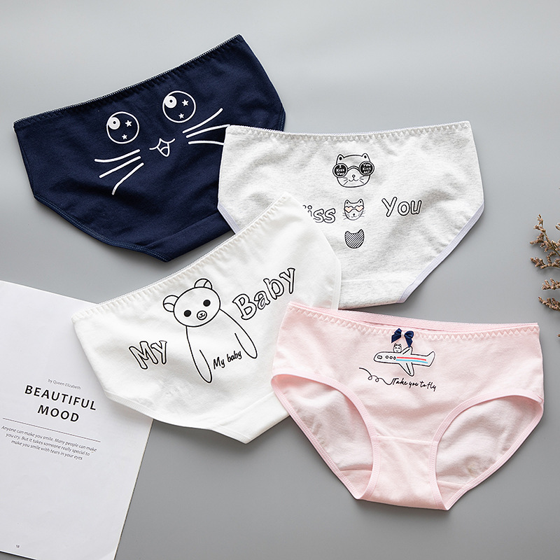 4Pieces/lot Sexy Women's Cotton Underwears Women's Briefs Ladies   Panties   Breathable Underpants Girls Knickers for Female