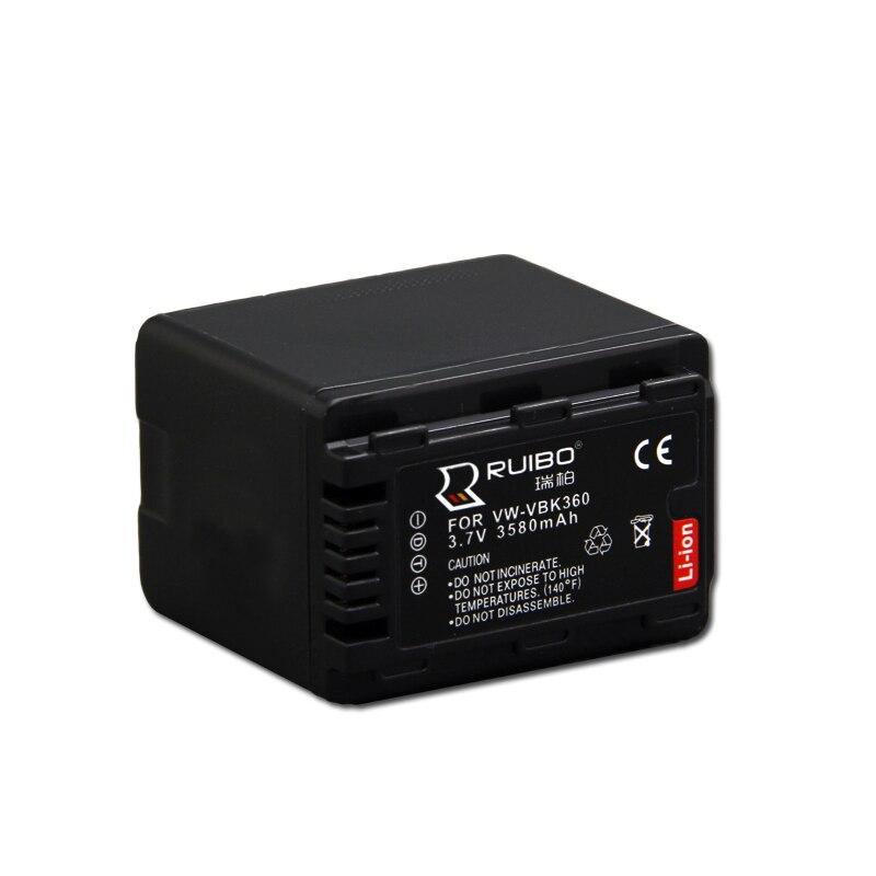 3580mAh for Panasonic VW-VBK360 SD40 SD60 SD80 SD90 SDX1 Camera Battery 3.7V Camcorder HS80 TM80 H101 S71 SD90
