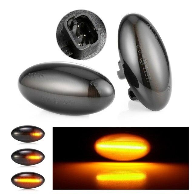 車のledサイドマーカーダイナミックledターン信号光シトロエン用のC1 C2 C3 C5 C6 ためびくびくプジョー 307 206 407 107