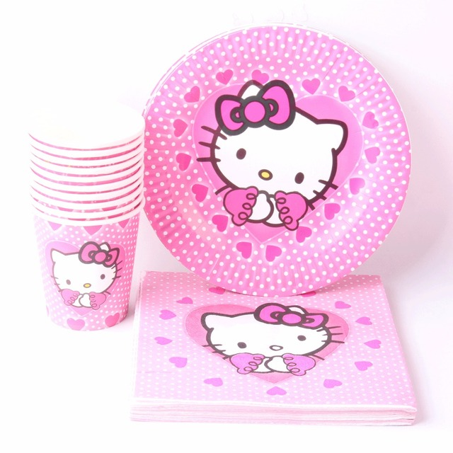 1395654f9 40pcs\lot Baby Shower Tissues Kids Favors Paper Plates Cups Hello Kitty  Dishes Glass Birthday