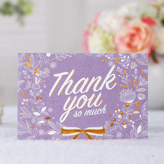 50 Pieces Bag Purple Thank You Card With Flower Greeting Cards High