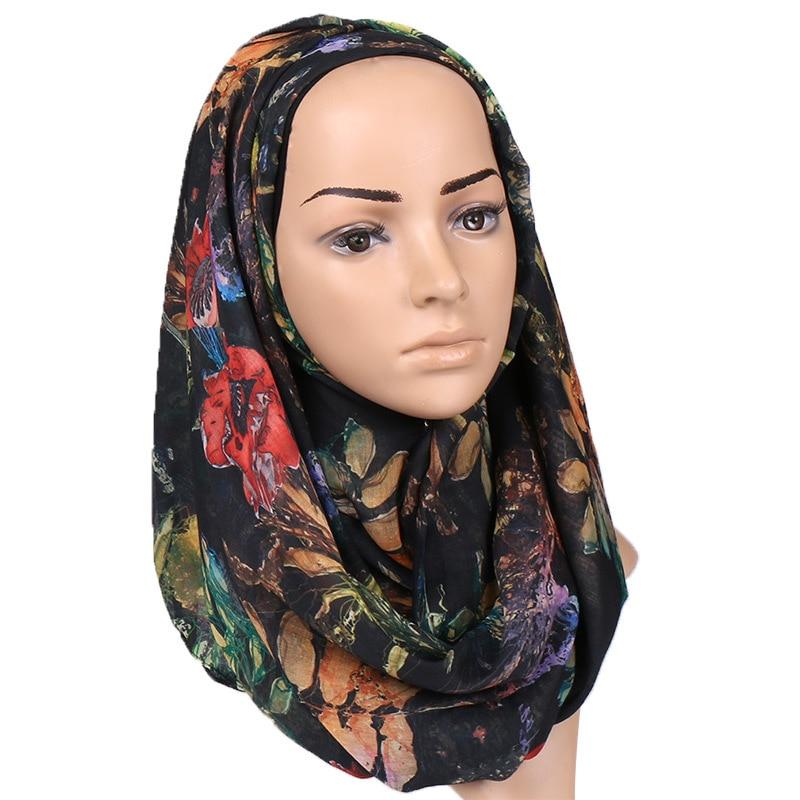 2019 Fashion Floral Hijab   Scarf   Printe Soft Cotton Shawls Muslim   Scarves   Trubans Viscose   Wraps   Thin Islamic   Scarves   180*70Cm