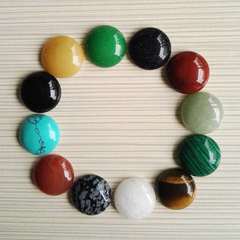 Wholesale 30pcs/Lot Nature mixed round stone beads CAB Cabochon loose Beads size 18x18mm Free shipping
