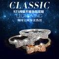Y29 s925 plata pura fósforo de la mezcla delicada suave anillo de arco anillo del dedo índice