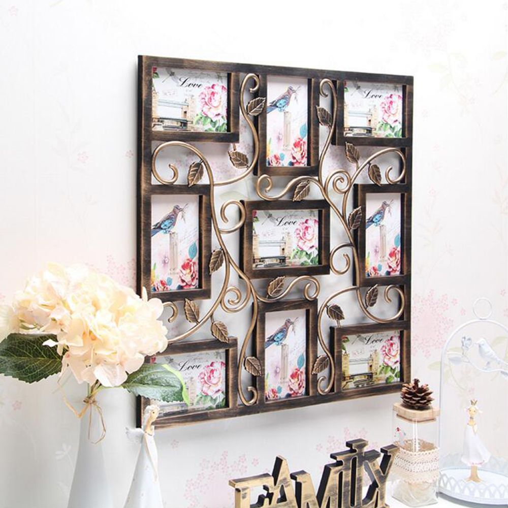 yazi Bronze Color Wall Hanging Collage Square Picture Frame Photo ...