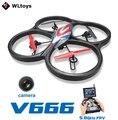 Ultra grande juguetes del WL V666 5.8 G FPV Drone 6 ejes 4CH RC Quadcopter con RC Quadcopter con cámara de 2MP HD Monitor UFO