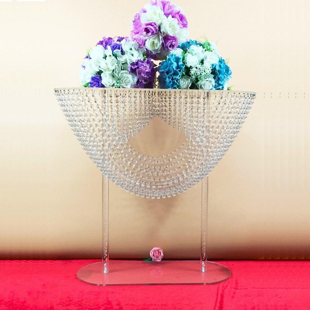 28 дюймов волнообразный хрустальные украшения стола свадебный цветок Континентальный акрил кристалл раздел цветок стенд