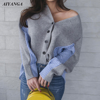 New Autumn Winter Patchwork Knitted Blouses Women V Neck Striped Shirts Casual Knitting Tops Loose Blouse 2018 Fashion Shirt