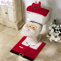 FENGRISE Santa Claus Rug Toilet Seat Cover Bathroom Set Merry Christmas Decorations for Home New Year Navidad Decoration 2017