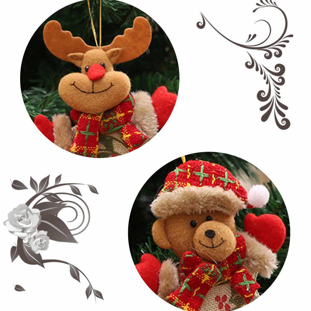 4Pcs חג המולד לתלות קישוט חג המולד עץ קישוטי מתנה סנטה קלאוס איש השלג איל צעצוע בובת חג המולד DIY לתלות קישוטים