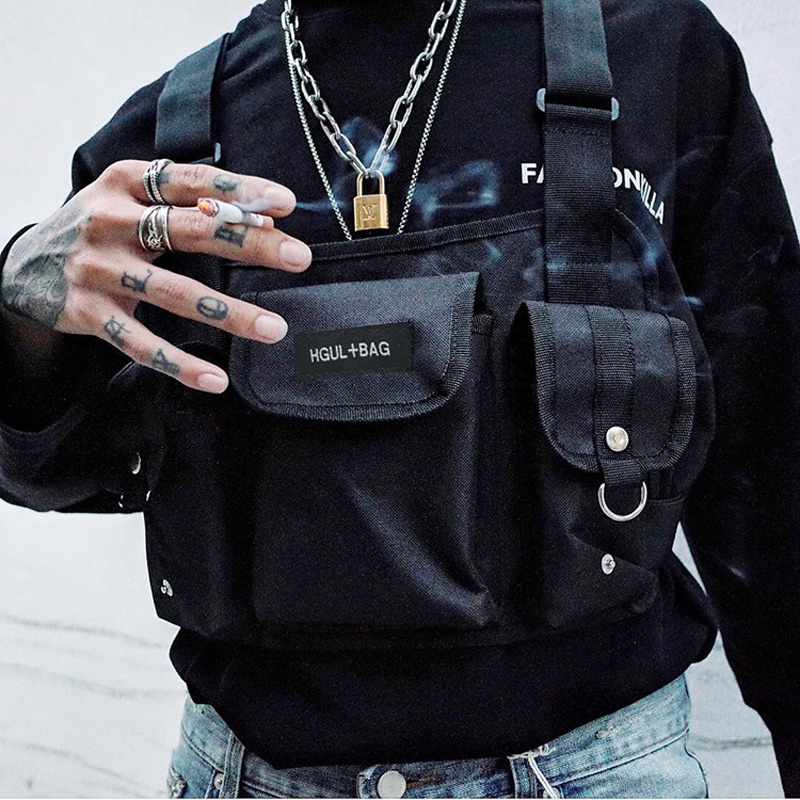 Black Chest Rig Bag Hip Hop Streetwear Functional Tactical Waist Pack Nylon Punck Military Chest Rig Waist Pack Bolso Kanye West