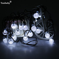 2016 6M 20FT 30 Led Solar Powered Decoration LED Crystal Ball Fairy String Lights Pendant Lamps