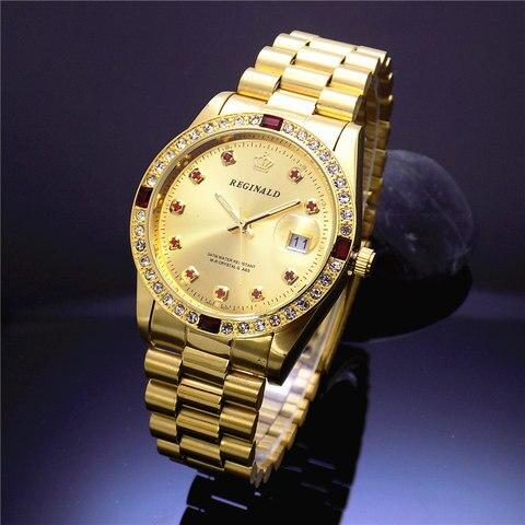 Relógio de Luxo Mostrador do Relógio para Mulheres de Aço Moda Reginald Marca Novidades Quartz Data Analógico Inoxidável Completo Ouro Mulher Relógios 2020 hk Mod. 128858