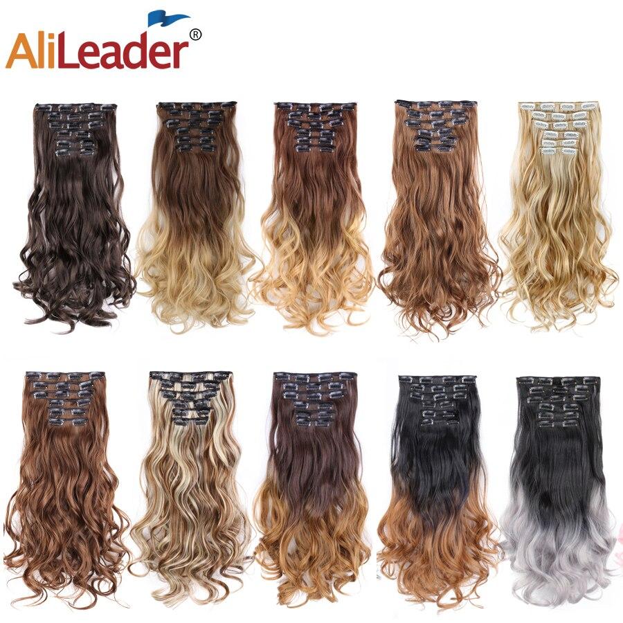 Alileader cabelo 22 polegada 16 grampos de cabelo onda do corpo sintético fibra de alta temperatura preto marrom ombre clip em extensões de cabelo