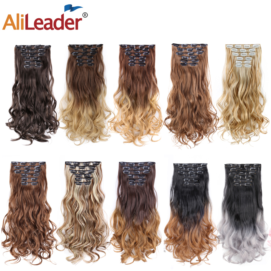 Alileader Hair 22inch 16clips Hairpiece Body Wave Synthetic High Temperature Fiber Black Brown Ombre Clip In Hair Extensions