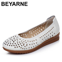 BEYARNE 2017 Women Loafers Lady Flat Shoes Woman Summer Flats Hollow Out Comfortable Soft Outsole Genuine