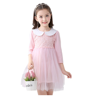 2017 Autumn winter Girls Dress Casual Long Sleeves flower lace Mesh Kids Princess Dresses For Girl Autumn Clothing Cute Dress