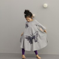 Fashion Butterfly Printed Long Sleeve Ankle Length Dress Hot Sale Summer Girls Dress For Kids