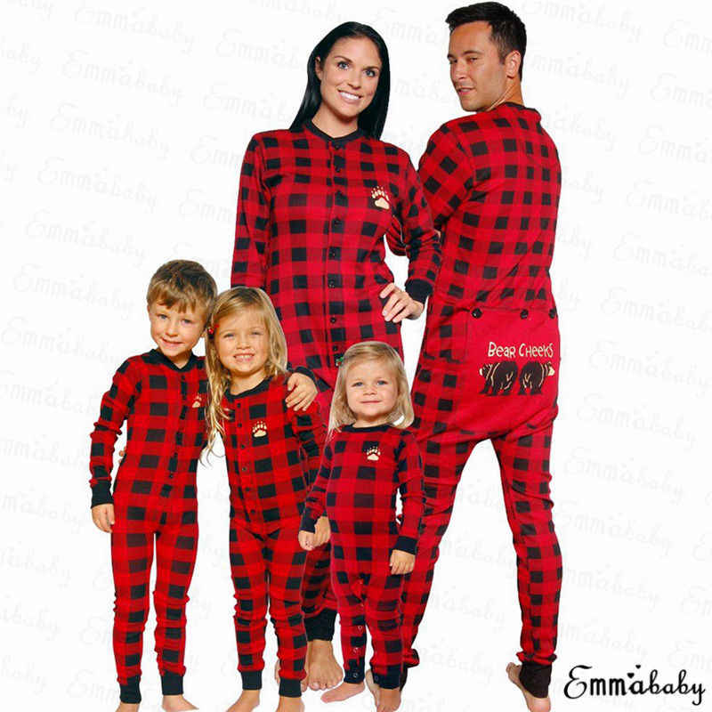 2018 Newest Hot Xmas Christmas Family Matching Pajamas Set Soft Cotton  Plaid Adult Women Kids Sleepwear 3fccfbd16