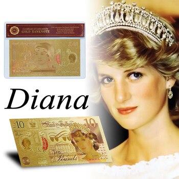 Inglaterra última rosa Diana princesa desafío billete calidad oro plateado 10 libras billete falso réplica billete