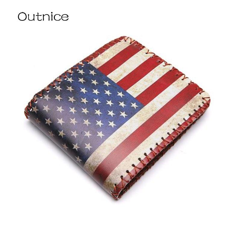 Vintage Brand UK US Flag Magic Wallet Short Fold Dollar Price Money Clip Men's Personalised Wallet Purse Hot Sale