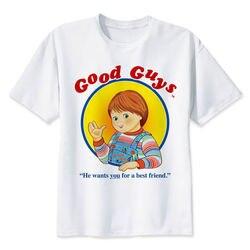 Chucky T Shirt mężczyźni wysokiej jakości fajne Streetwear mężczyźni T-shirt na co dzień Horror Tshirt Chucky drukuj O-Neck mężczyzna odzież 4