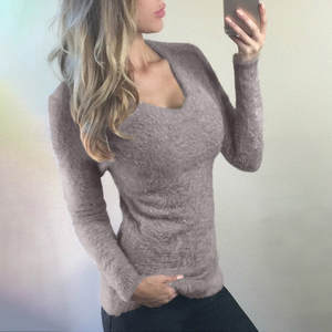 Shirt Sweaters Tops V-Neck Long-Sleeve Casual Women Lady And Slim-Fit Blouse Warm High-Elastic
