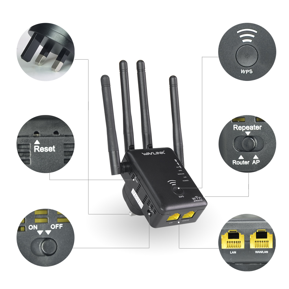 Wavlink AC1200 WIFI Répéteur/Routeur/point D'accès Sans Fil Wi-Fi Range Extender wifi signal amplificateur avec Antennes Externes Chaude - 2