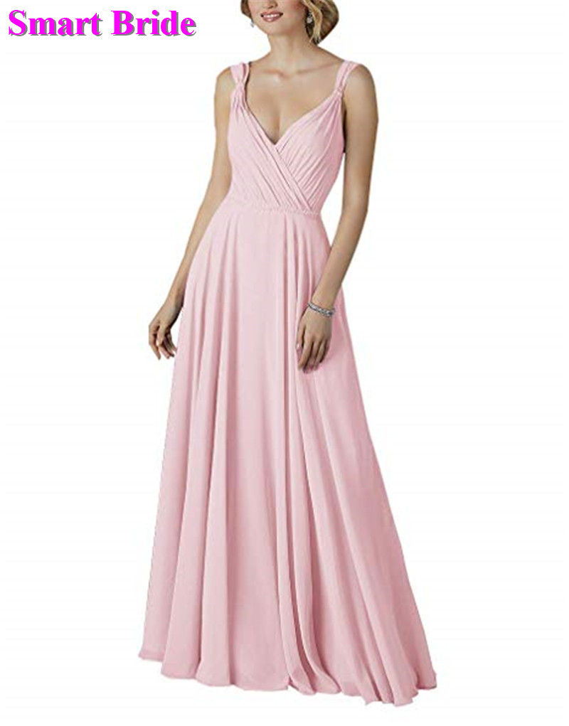 Chiffon   Bridesmaid     Dress   A-line V Neck Pink Green Burgundy Long Pleat Party Corset Back Guest   Dresses   Simple Gowns BE01