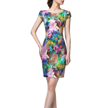 2016 New Arrive Women Summer Elegant Tartan Floral Print Tunic Work Business Casual Party Bodycon Pencil Sheath Dress YF5314