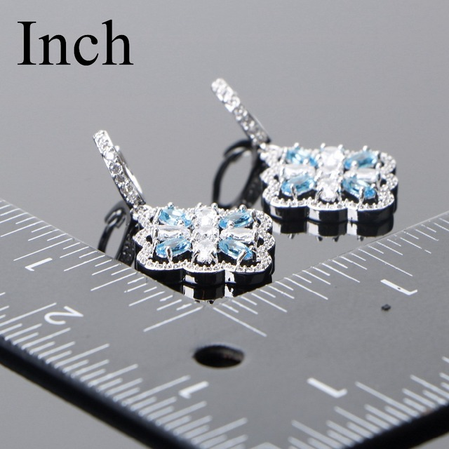 Bridal 925 Sterling Silver Jewelry Sets Blue Zircon  3