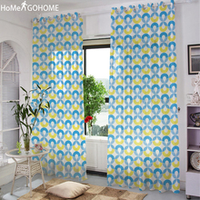 Endless Circle Geometric Screen 3D Tulle Curtains for Living Room Window Curtain Sheer Curtain Bedroom Kitchen Drape Panel Voile pastoral daisy door screen voile window sheer curtain blinds drape bedroom curtains backdrop christmas decorations for home wall