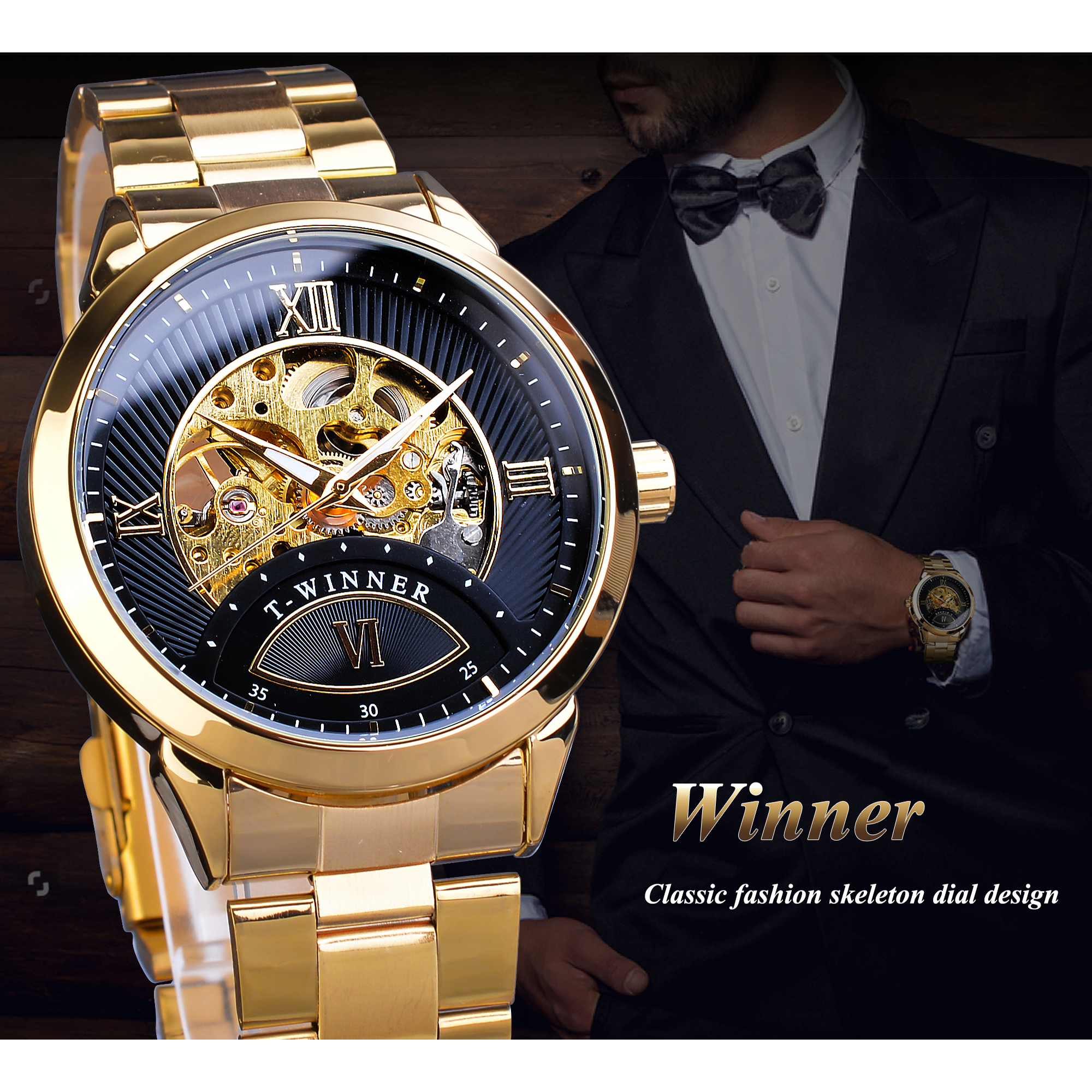 Winner Automatic Men Watch Golden Black Transparent Skeleton Mechanical Business Stainless Steel Wrist Watches Relogio Masculino in Mechanical Watches from Watches