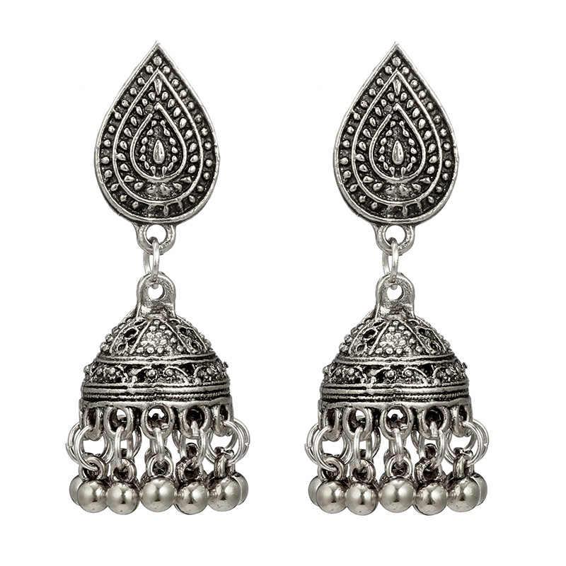 5f04e631ae3e Indio Jhumka joyería de plata Boho étnico Vintage para mujer pendientes  hueco pendientes gota de agua