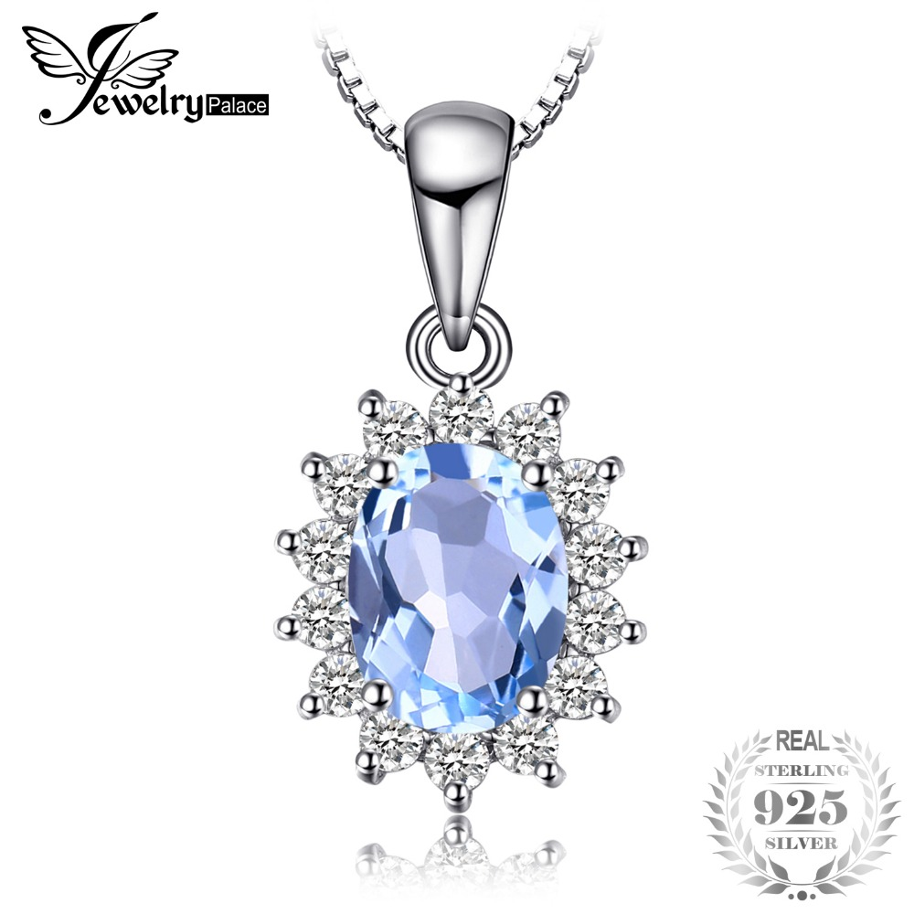 BijuteriiPalace Printesa Diana William Kate 2.3ct Natural Blue Topaz Halo Pendant 925 Sterling Silver nu include un lanț Nou