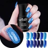 Роскошный палец 15 мл Bling Platinum синий УФ лак для ногтей с блестками лак для ногтей основа и верхнее покрытие Светодиодный УФ профессиональный ...