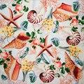 100% Silk Scarf Women Scarf Sea Snail Neckerchief Scarf Silk Bandana 2017 Top Print Small Square Silk Scarf Hot Luxury Lady Gift